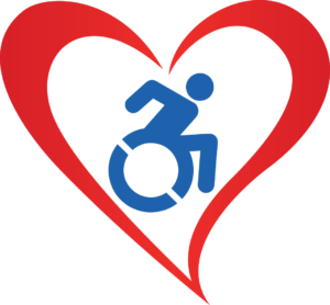 Stylized Heart with active accessibility symbol in the center.